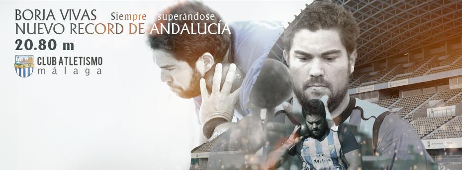 El malagueño Borja Vivas establece un nuevo record de Andalucía en lanzamiento de peso., 20.80 m.