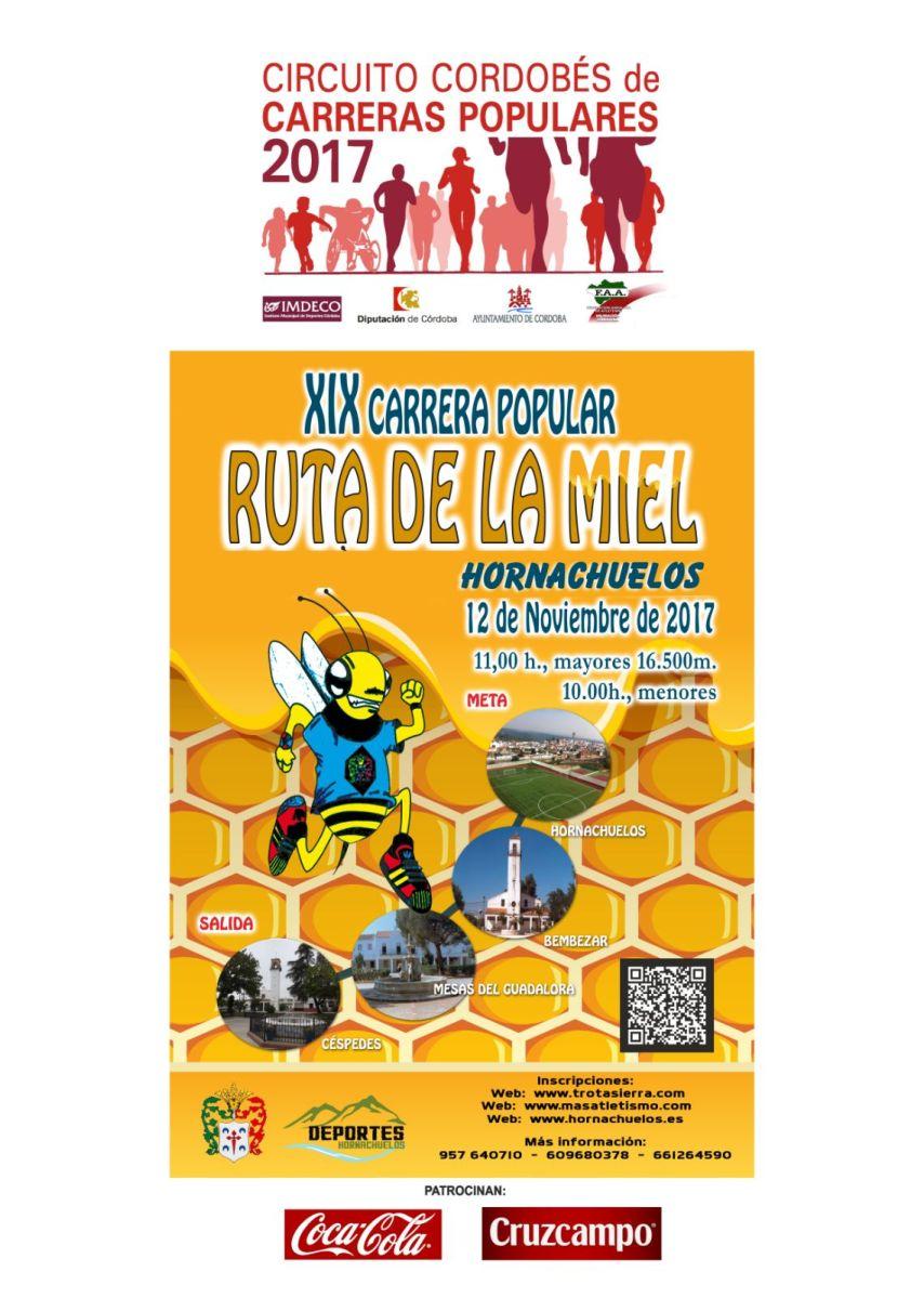 """XIX Carrera Popular Ruta de la Miel, cupo 550 dorsales adultos, quedan tan solo 145 """"Atención"""""""