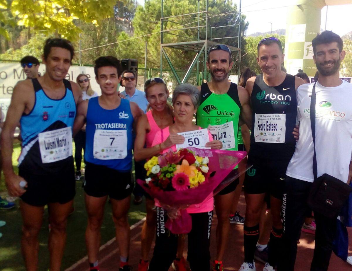 """Los atletas del Trotasierra Angel Muñoz y Loli Jimenez Guardeño vencen en la Carrera Popular """"Fran Lara"""" (10km en pista)"""