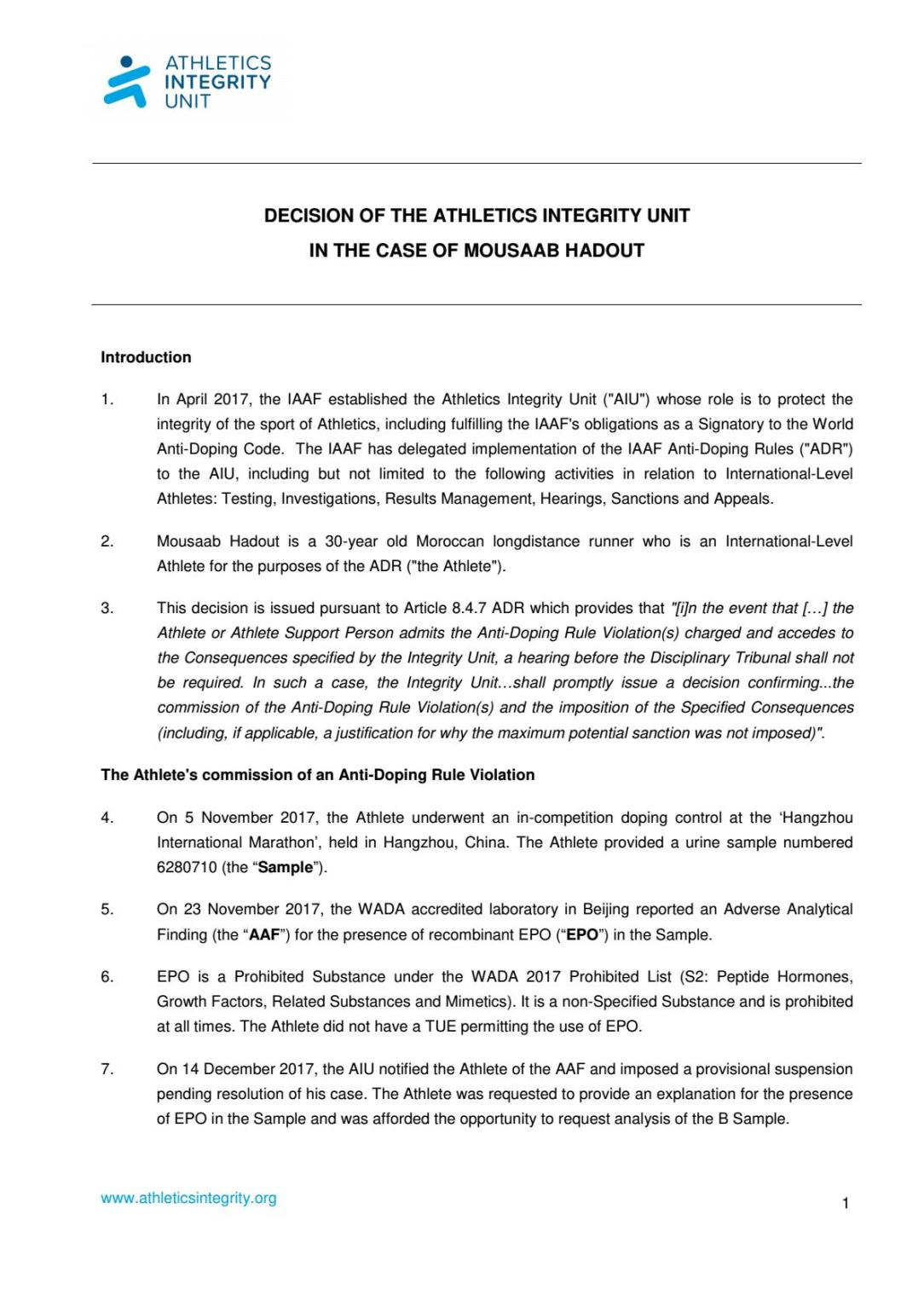 AIU-17-326-Moussaab-HADOUT-AIU-decision-EN - Página 1
