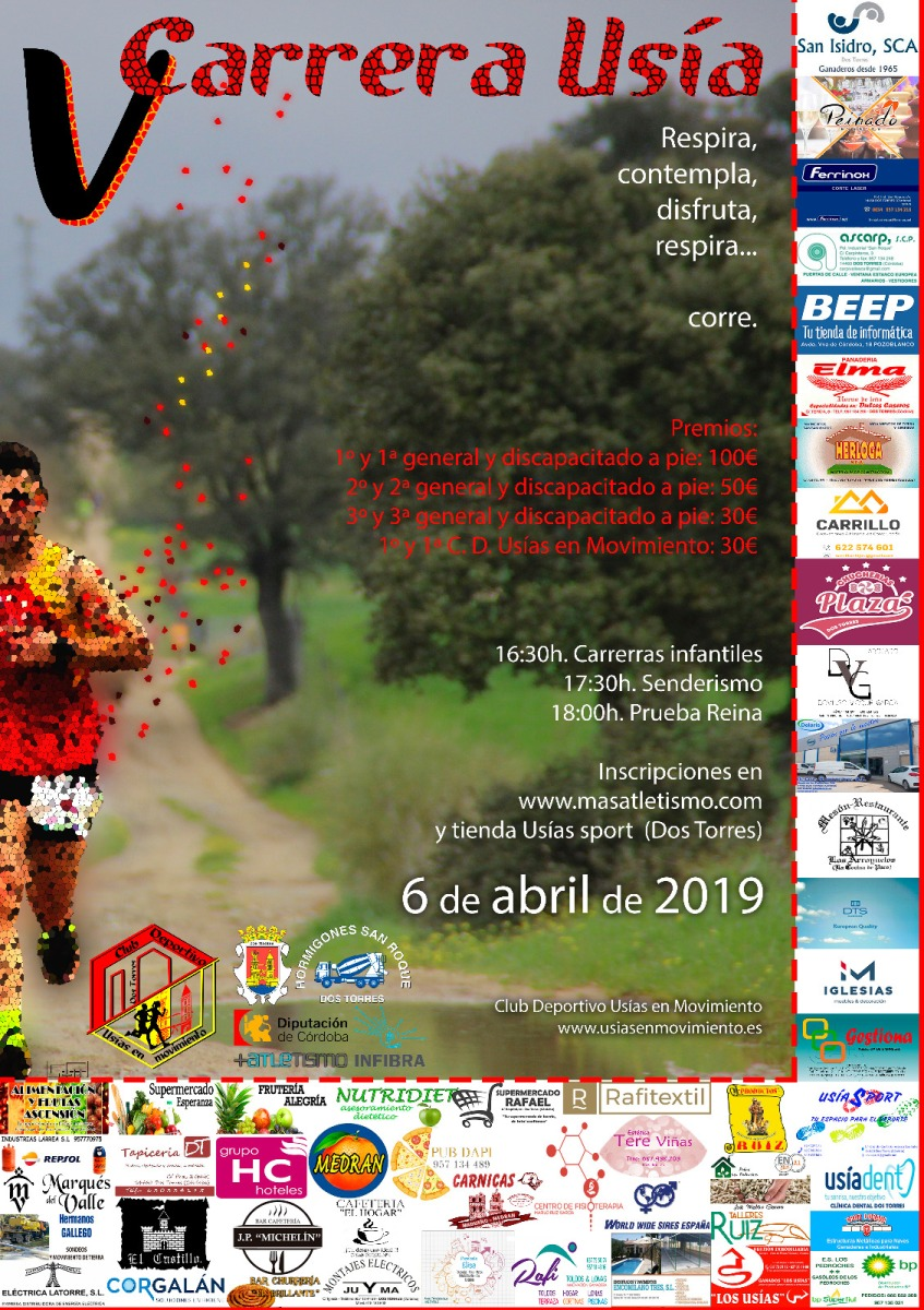 Inscribirte en la V Carrera Usía (Dos Torres-Córdoba), será una bonita experiencia, también tenemos senderismo para tod@s